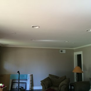installed crown moulding and lights